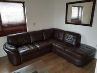 Brown Real Leather Corner Sofa