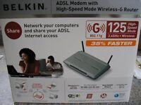 BELKIN ADSL MODEM WITH HIGH SPEED MODE WIRELESS G ROUTER **BRAND NEW**