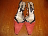 Jacques Vert Terracotta /Black Slingback Shoes