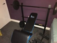 Gym bench + 2 6ft bars + tricurl bar + 55 kg weights