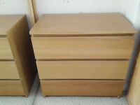 IKEA MEDIUM OAK MALM CHEST OF DRAWERS £30.00 A SET 2 SETS AVAILABLE GOOD CLEAN CONDITION