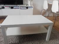 WHITE Ikea furnitures- coffee table and bookcase