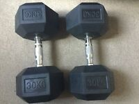 Body Power 30Kg Rubber Hex Dumbbells (x2) Never Used