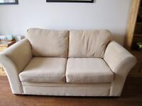 2 x 'Next' Medium Sofas (3 seats) Textured Velvet Natural