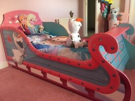 Disney's Frozen sleigh toddler bed with mattress - as new £75!!!