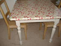 Shabby chic solid pine small dining table and chairs