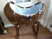 POD baby wicker bassinet in dark wood wicker + stand