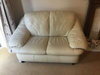 Cream leather 3 & 2 seat sofas