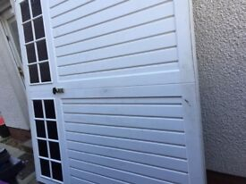 Garage door, single, white with all necessary working parts.