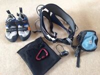 Climbing gear - Harness, shoes, chalk bag & belay device