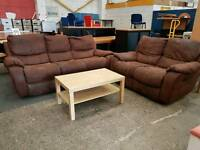 Brown suede fabric 3 seater and 2 seater recliner suite