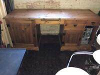 Very Solid Pine Desk with 2 Cupboards & 3 Drawers