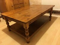 Rustic pine coffee table solid wood shabby chic