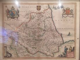 2 maps dated 1695 and 1646, one Robert Morton one Willem Blaeu, both of north of England