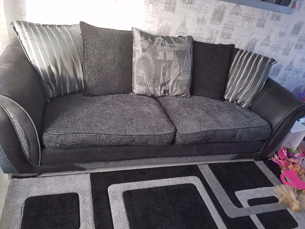 Large Swivel Chairs Living Room Dfs Black 4 Seater Sofa And Large Swivel Chair In Aylesbury