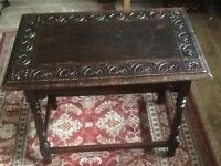 Victorian arts & crafts carved oak occasional/hall/side table