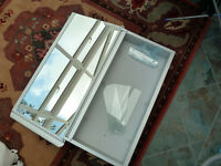 Bathroom cabinet, large metal cabinet, single door, mirrored inside and out, 3 shelves