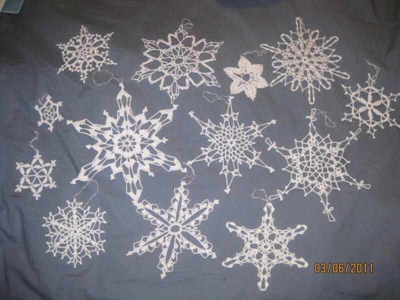 13 Snowflakes Crochet Crocheted Handmade Lot 3a