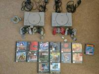 2 x Playstation 1, 14 games including mint condition C&C Retaliation and link up cable