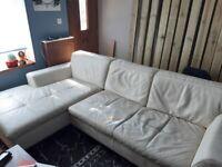 Cream leather L sofa FREE