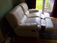 **reduced** Cream leather reclining sofa
