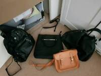 3 purses and one backpack
