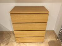 4-drawer dresser white stained oak veneer