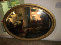 Superb Large Heavy Ornate Antique Oval Gilt Wood Frame Mirror with Bevelled Glass