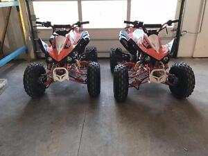 Two Gas Atv's 125cc Barely used for kids and teens w/ reverse 4 stroke with warranty Many upgrades wide tires youth quad