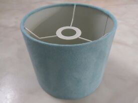 """* Like New Next Small 5"""" Drum Light Lamp Shade Pendant Faux Suede Duck Egg Blue Light Teal *"""