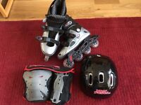 New 'NO FEAR' Inline Skates + Wrist & Knee Guards + Helmet