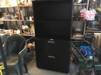 BLACK IKEA CUPBOARD WITH SHELVES AND TWO DEEP LOCKING DRAWERS EXCELLENT CONDITION