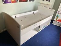 Mid-sleeper single bed with storage