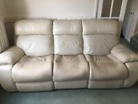 Cream leather reclining sofa and chairs