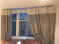 Curtain with wooden curtain pole