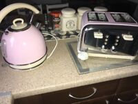 Pink toaster and kettle set