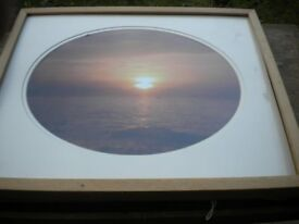 A BEAUTIFUL LITHO OF A SUNSET PINE FRAMED DOUBLE MOUNTED 24X18 INCHES