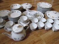 VINTAGE CROCKERY SET - PLATES / TEA CUPS - JOB LOT! APPROX 80 PIECES HAND PAINTED