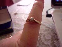 vintage 15pt solitaire diamond 9ct gold ring size P