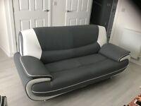 Grey retro leather sofa & chair