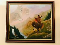 PRENELLE ORIGINAL SPIRIT OF THE WOLVES APACHE NATIVE AMERICAN OIL PAINTING