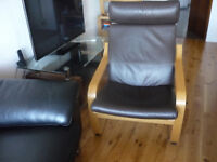 Ikea Poang Brown Leather Chairs x 2 and 1 Brown Poang Leather Footstool.