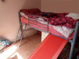 Bunk bed / Cabin bed / mid sleeper with slide, metal frame 3ft