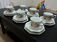 6 peice set of tea cups and plates and bread and butter plates as new