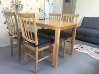 IMMACULATE CONDITION IKEA SOLID PURE WOOD DINING TABLE WITH 4 CHAIRS RRP £229 (SMOKE, PET FREE HOME)