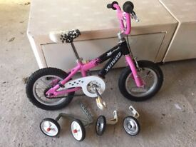 "Girls 12"" Wheel Hot Rock Bicycle, Removable Training Wheels, Pink/Black/White"