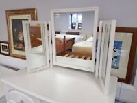 Lovely condition white dressing table triple mirror