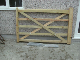 Pair of Five Bar Timber Gates for 3.6m opening
