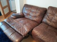 Large 3 Seater Brown Leather Sofa - Manual Recliners
