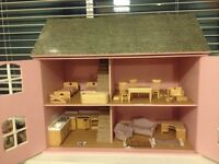 Beautiful large wooden doll house and multitude of wooden fittings.
